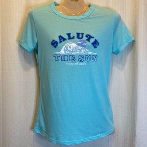 Vineyard Vines salute the sun small blue T-shirt